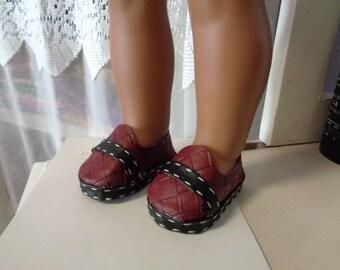 Rich Burgundy  Faux Leather Shoes for -18 Inch BOY-Doll Shoes-Fits Gotz-Kidz N Cats- American Girl-Boy Dolls
