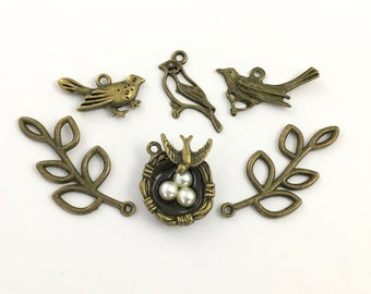 6 bird and nest charms bronze tone collection # ENS B 279