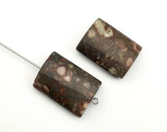 2 autumn jasper pillow stone beads 18MM X25MM #PP242-4