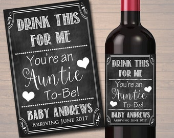 Drink This For Me You're An Auntie To Be, Beer & Wine Label Pregnancy Announcement, New Aunt Gift, Sister Promoted to Aunt Pregnancy Reveal