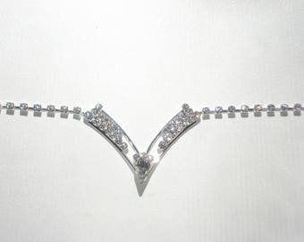 Bridal Hair Chain - Silver and Crystal Bride or Bridesmaid Jewelry - Sparkling Head Piece - Wedding Prom