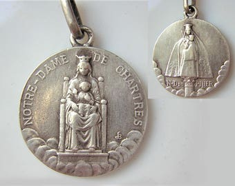 """Our Lady of Chartres & Our Lady of the pillar - Large antique  religious medal, 0.70"""""""