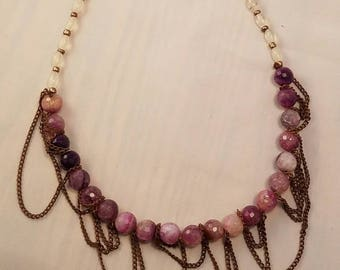 Chain Wrapped Stone Necklace