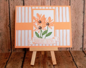 Handmade Card/Floral/Stamped/Friend/Thinking of You/Peach Color