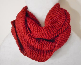 Hand Knit Infinity Scarf Rust Colored with Sequins