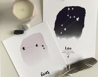 Zodiac art print with a sense of humour! Constellation print, astrology wall decor, horoscope poster