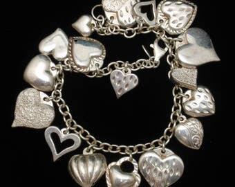 Puffy Hearts Charm Bracelet Sterling Silver Modern Twist on an Old Favorite