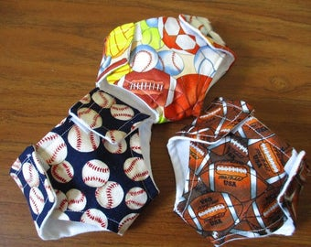 Boy Doll Diapers,  Set of Three Sport Diapers, Baseball, Football Bitty Baby Twin, Bitty Baby, Baby Alive, Cabbage Patch  in. Doll