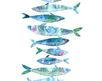Archival Art Print - Blue Fish, Fish, Nautical Art, Sardines, Blue, Collage, Portugal, Beach, Ocean, Watercolor, Bathroom Art, Kitchen Art