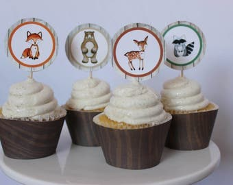 Woodland Cupcake Toppers, Woodland animals Cupcake toppers, Rustic woodland party, Set of 12