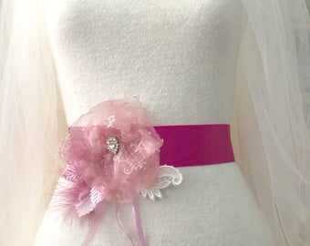 Pink sash belt, bridal sash belt, pink flower sash,