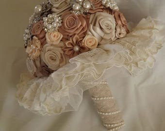 Satin Bride Bouquet Satin Flower Brooch Bouquet Wedding Bridal - Made To Order