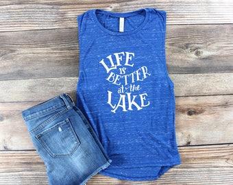 Lake Shirt/ Lake Tank Top/ Lake Muscle Tank/ Lake Life/ Summer Tank Top/ Womens Graphic Tee/ Lake Hair/ Beach Please/ Great Lakes/ Boat Life