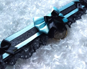 Blue and Black Kitten Play Collar // Choker // Tug Proof  // Cosplay