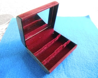 Classic travelling jewellery box - plum red velvetine cover and lining with mirror inside