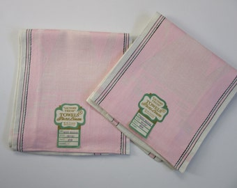 2 linen tea towels / pink white linen / unused