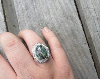 RARE Seven Dwarves turquoise and sterling silver ring size 8