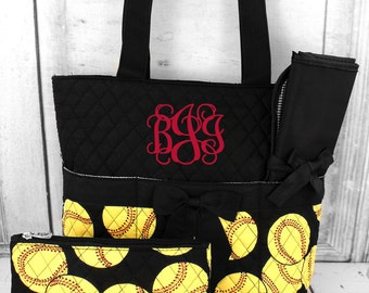 Yellow softball duffle diaper bag, Matching hospital bags, Personalized duffle and diaper bag, Matching mommy baby bag, Prepacked labor bag