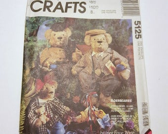 Elderbearies Stuffed Bears Complete With Clothes / Stuffed Bear Pattern / McCall's Crafts 5125