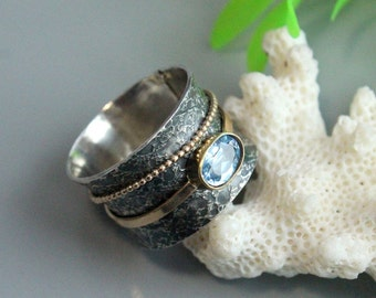 Aquamarine band ring , sterling silver 925, gold filled,  wide texture rings, boho rings, statement ring, birthstone ring, midi ring