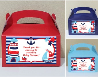 SALE! 12 Personalized Nautical Gable Boxes Nautical Favor Boxes Nautical Treat Boxes Nautical Party Favors