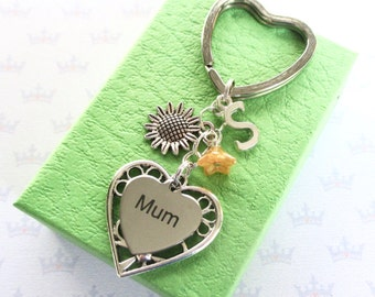 Mum Gift - Sunflower keychain - Mum Birthday gift -  Sunflower keyring - Mother's Day gift - Personalised Mum gift - Stocking filler - UK