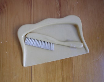 Vintage Celluloid Crumb Tray and Brush 2 piece Set