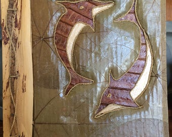 Vintage Rustic Photo Album with Leaves and Dolphins
