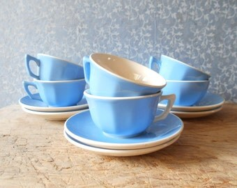 Villeroy and Boch coffee cups , 6 blue and white cups and saucers, mid century French tableware.