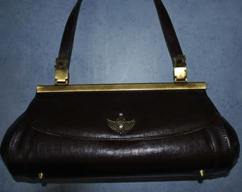 Vintage Victorian steampunk style Brown leather bag
