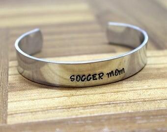 Soccer Mom Bracelet / Mother's Day Gift / Hand Stamped Bracelet / Sports Bracelet / Soccer Bracelet / Soccer Team Bracelet