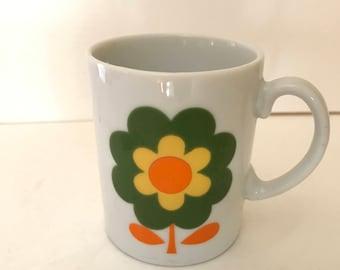 Vintage 70's Mod Flower Power Mug- Orange and Yellow- Retro- Nice condition