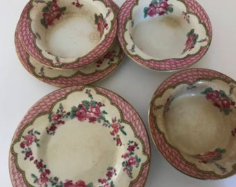Antique (7)pc Booths Silicon China England Rose Pattern Early 1900s Porcelain small Bowl and Saucer