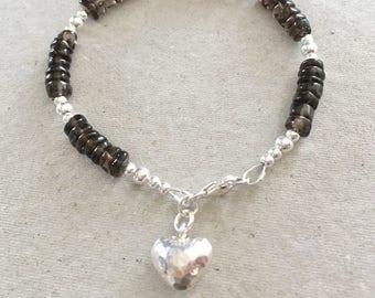 Smoky Quartz Heart Charm Bracelet, Sterling Silver Beaded Bracelet, Brown Smoky Quartz Bracelet, Beaded Bracelet, Jewellery Gift For Her