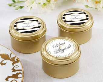24 + Personalized Gold Round Candy Tin, Wedding Favors, Custom Mint Tins, Candy Tin Favors (14111NA-CL)