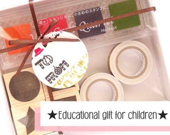 Kids gift toy, Rubber stamp set, Washi tape, Japanese stationery gift