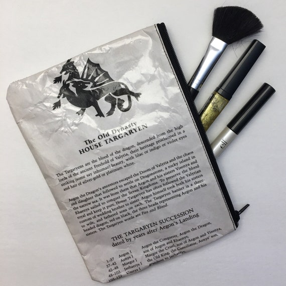 Game of Thrones Themed Vinyl Pencil or Make-Up Pouch - Old Targaryen Dynasty