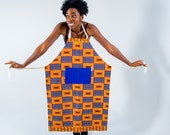 Apron - African print apron - kitchen apron - African fabric apron - womens apron - mens apron - kitchen and dining - Royal Blue Kente