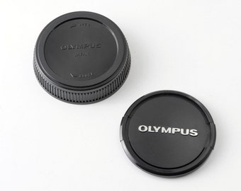 Genuine Vintage Olympus OM 49mm Front and Rear Bayonet Lens Caps - Very Good Condition