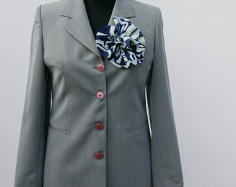 Grey Pinstripe blazer 90 years with vintage buttons