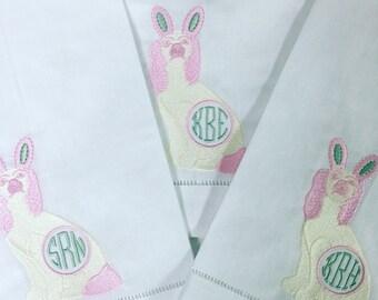 Monogrammed Easter Staffordshire Dog on Linen Guest Towel