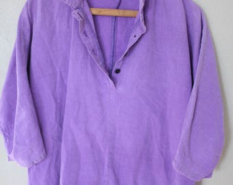 Vintage lilac purple halter button up top