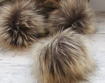 3 Faux Fur Pom Pom. Beige Brown FOX for hat, bags, extra large pom pom, fox fake fur pompom,