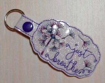 Key Fob/Snap Tab - Just Breathe