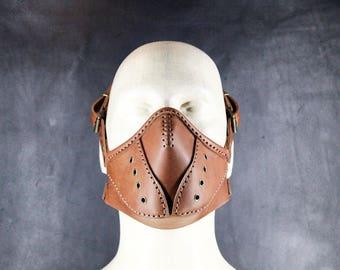 Steampunk Mask , Leather Mask - Burning Man - Halloween Mask - Mouth Mask - LARP - Cyberpunk mask - cosplay - post apocalyptic - gas mask