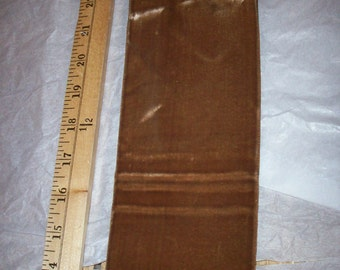 """Vintage Velvet Fine rayon Ribbon in Chestnut  Wide 3 3/4"""" Yardage available old store stock"""