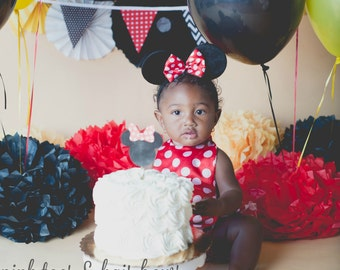 Minnie Mouse Romper-Minnie Mouse cake smash-Minnie mouse outfit-Minnie Mouse-red minnie mouse outfit-minnie mouse birthday