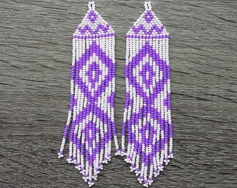 Native  American Beaded Earrings  Inspired.  White Purple Earrings. Long Earrings. Gift For Her.  Beadwork.