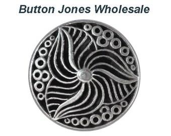 50 pcs. Trillium 7/8 inch ( 23 mm ) Metal Buttons Antique Silver Color