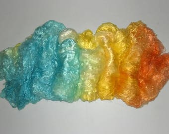 Hand Painted Sunny Day Silk Brick - spinning felting A1 grade - bombyx cultivated mulberry art batts orange yellow blue